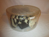 Acrylic Hat Box w/Vintage Mink Pill Box Hat, Curly Lamb Collar, Crocheted Hand Bag, &