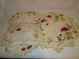 3 Early Hand Colored & Embroidered Silk Centerpiece Cloths  Circa 1910-15  Beautiful