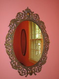 Oval Brass Hanging Mirror