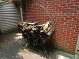 Round Wrought Iron Log Holder w/Logs