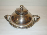 Quadruple Plate Covered Domed Butter Dish - Ornate w/Beading  5 1/2