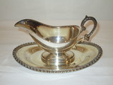 Silver on Copper Gravy Boat w/Underplate