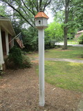 Wood Bird Condo w/Brass Roof on PVC  - You Dig Up