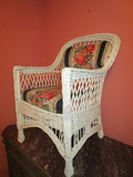 Early Wicker Arm Chair w/Upholstered Seat & Back
