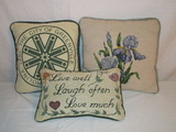 Lot - 3 Needlepoint Accent Pillows