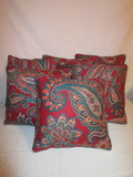 Lot - 6 Red Paisley Design Accent Pillows