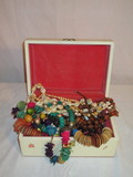 60's Jewelry Box w/Misc. Beads  4