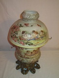 Vintage Hand Painted Lamp, Brass Base, Hand Painted Putti on Glass Font &
