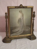 Vintage Wooden Tilting Picture Frame w/Bride Photo
