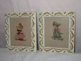 2 Sweet Cross-stitch Pictures of Boy & Girl - Framed in Decorative