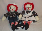 Pair Raggedy Ann & Andy Dolls - Handmade by