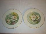 2 Hand Painted Porcelain Plates w/Hangers  11