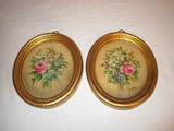 2 Hand Painted Chalkware Pictures - Florals