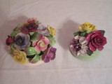 2 Floral (Capo di Monte style) Porcelain Pieces  1 - Royal Adderley, Staffordshire