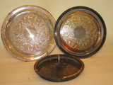 3 Silver Plated Trays - 2 w/Pierced Galleries      12