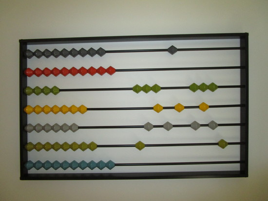 "Abacus 21 1/2"" x 36"" Metal Frame w/Multi Colored Wooden Beads"