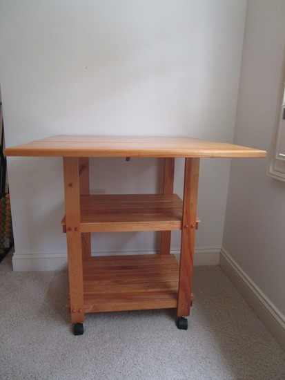 "Pine Microwave Stand on Casters 2/One Drop Leaf.  30"" T x 27"" W x 19"" D."