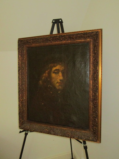 Oil on Canvas in Gorgeous Frame.  Small repair on bottom edge of canvas.  Still a