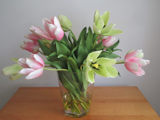 Faux Tulips Flower Arrangement in Glass Vase