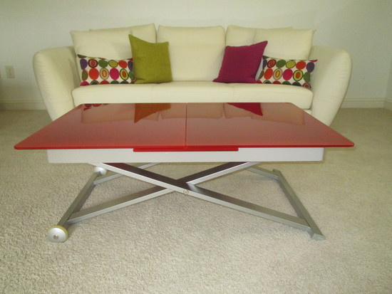 "Awesome  ""Calligaris"" (Italian Designer) Table w/Red Tempered Glass & Stainless Base"