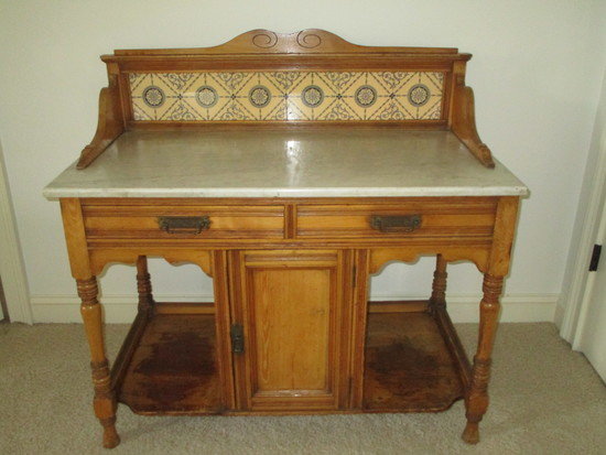 English Pine Wash Stand w/Marble Top & Ceramic Tile Back Splash.