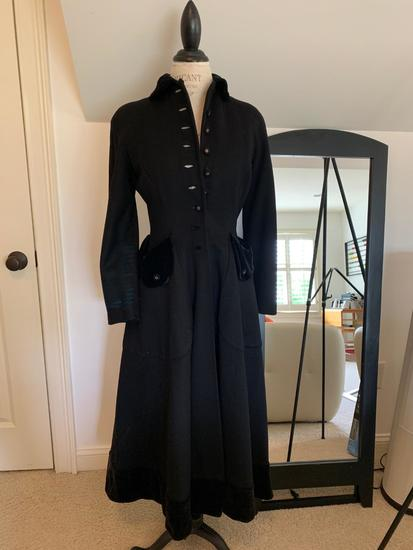 1940's Black Wool Coat.  Original Down to Buttons & Silk Velvet Collar & Pockets.