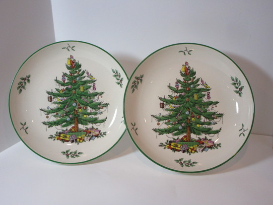 "Spode ""Christmas Tree"" - (2) 9"" Soup / Vegetable Bowls"