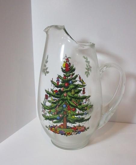 "Spode ""Christmas Tree"" - 11"" Glass Pitcher"