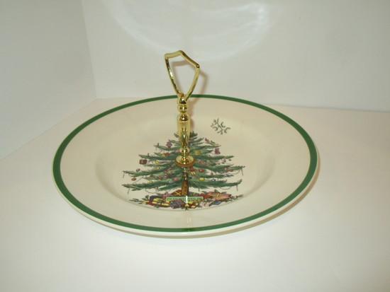 "Spode ""Christmas Tree"" - 11"" Tidbit Tray w/Center Handle"