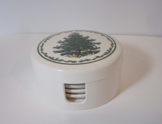 Christmas Tree Coaster Set - 6 in Covered Box - Plastic
