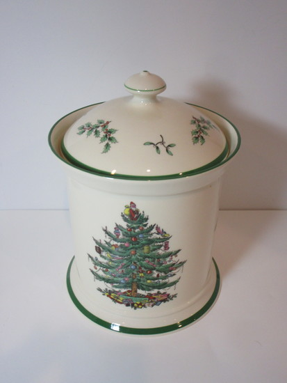 "Spode ""Christmas Tree"" - Cookie Jar   9 1/2"" to Finial"