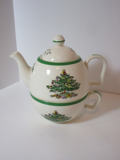 "Spode ""Christmas Tree"" - Individual Stacking Tea Pot & Cup"