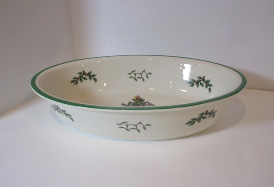 """Spode """"Christmas Tree"""" - 12 1/2"""" Oval Casserole Dish - Oven to Table"""