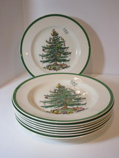 """(9) 10"""" Spode """"Christmas Tree"""" - Dinner Plates"""