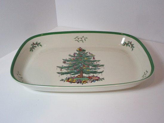 """13 1/2"""" Spode """"Christmas Tree"""" - Rectangular Casserole - Oven to Table"""
