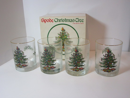 """Spode """"Christmas Tree"""" - Set of 4 Double Old Fashioneds"""