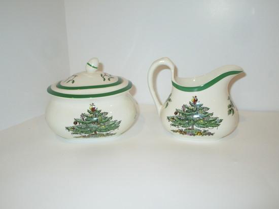 "Spode ""Christmas Tree"" - Creamer & Covered Sugar Bowl"