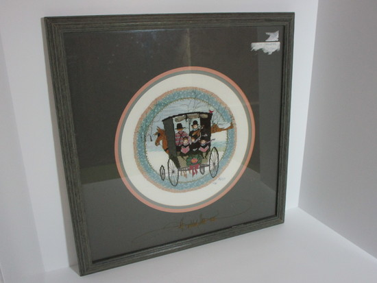 "Framed Cross-stitch of Amish Family in Buggy    19"" Square"