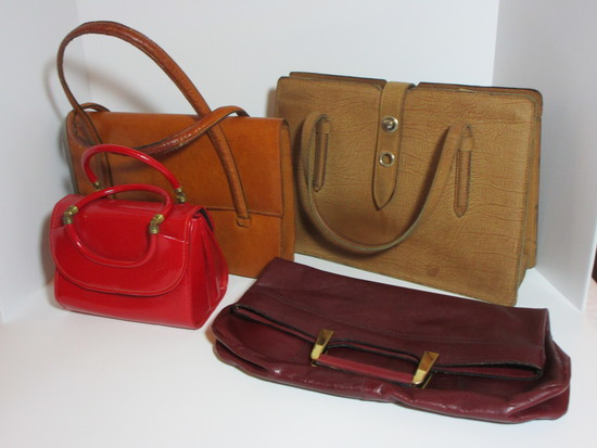 Lot - Misc. Vintage Leather Handbags