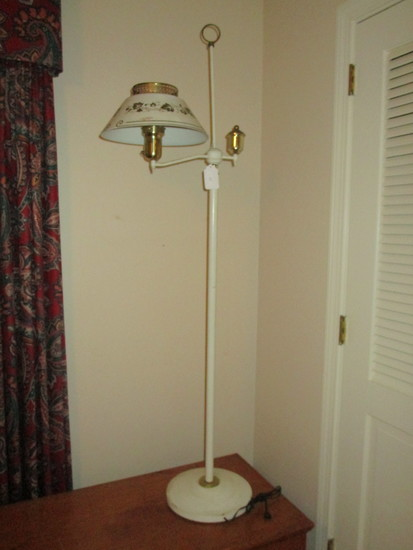 "Tole Painted Floor Lamp    67"" Tall"