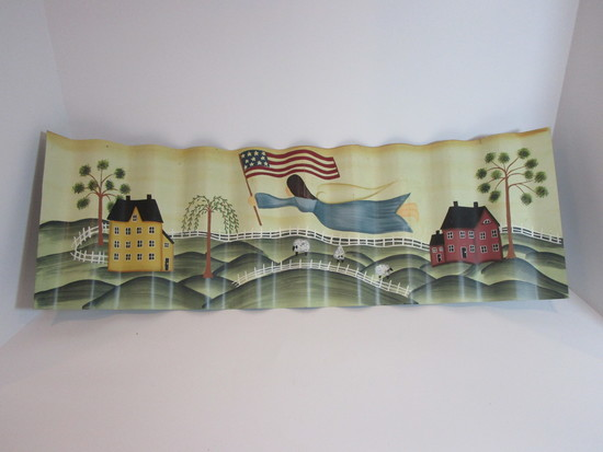 "Curled Tin Patriots Countryside Hand Painted Scene  8"" x 11 1/2"""