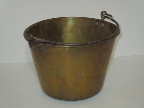 """Early Copper Bucket w/Brass Handle    10 1/2"""" Across"""