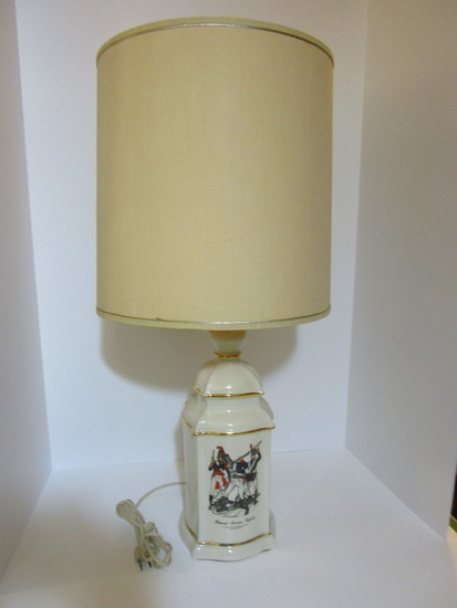 "Porcelain Lamp w/Decal of Historical Military Uniforms   29"" T"