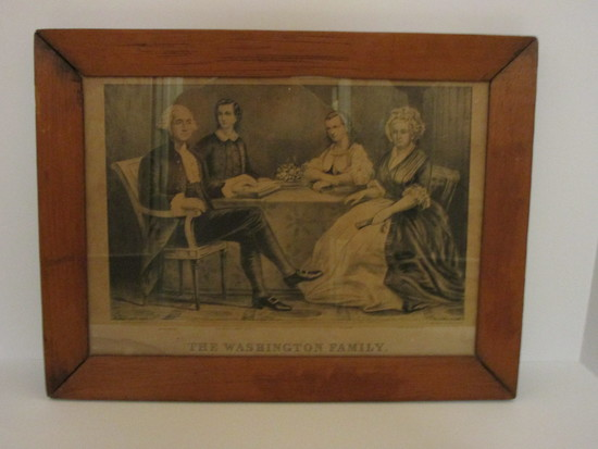 "Currier & Ives Magazine Print - ""The Washington Family"" - Framed   12 1/2"" x 16 1/2"""