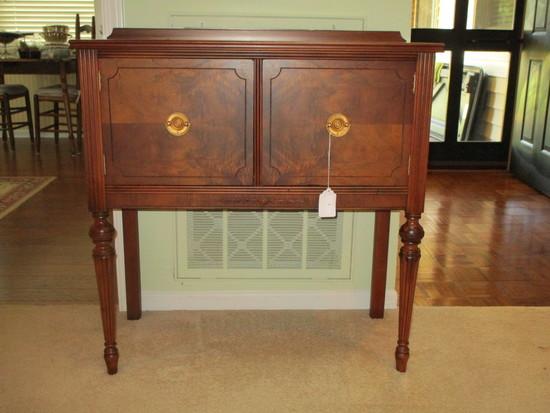 Double Door Mahogany Server w/Brass Hardware, Decorative Ormolu & Sheraton Legs