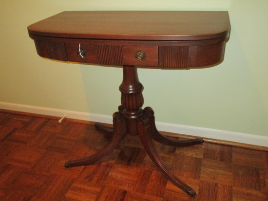 Duncan Phyfe Mahogany One Drawer Demi Lune Flip Top Game Table / Accent Table