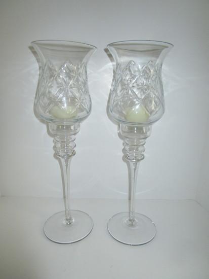 "Pair Tall Pressed Glass Candlesticks w/Pressed Globes   16 1/2"" T"