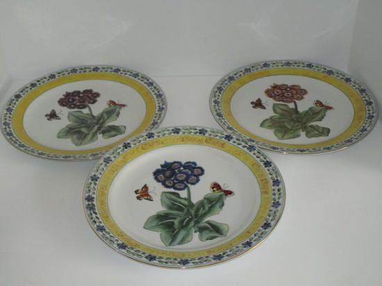 "3 Semi Porcelain Plates w/Floral & Butterfly Design   10"""