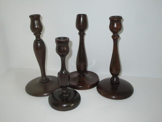 Lot - 4 Wooden Candlesticks - Various Sizes
