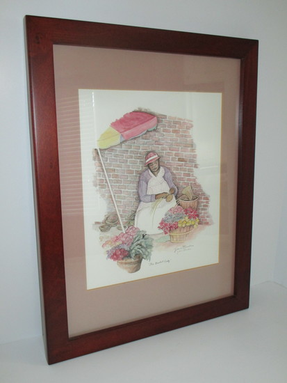 "Framed & Matted Jeanie Drucker Charleston Gullah Ladies Print ""The Basket Lady"""